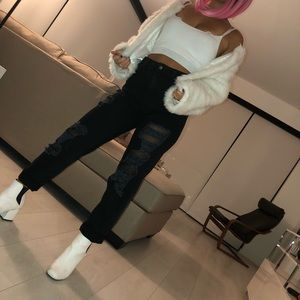 LF Carmar distressed high waist black jeans